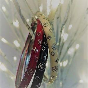 Jewelry - BEAUTIFUL SET OF 3 ENAMEL METAL BANGLES